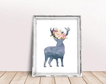 Deer Print Digital Wall Art Animal Printable Floral Watercolor Modern Frame Nursery Kids Home Room Decor Instant Download 5x7 8x10 11x14