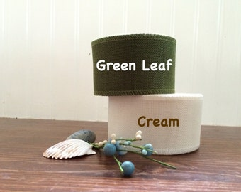 "2 1/2"" Green Leaf or Cream Natural Burlap Ribbon - High Quality Burlap Ribbon - 5, 10, 15 yards - NW53117"