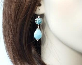 Swarovski Filigree Flower & Capped Blue Larimar Drop Earrings