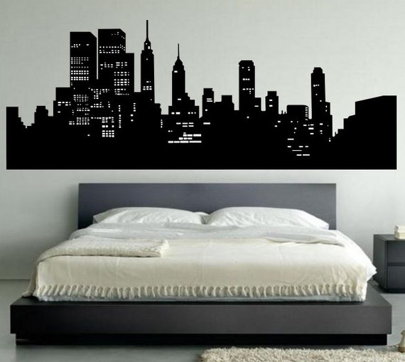 new york skyline wall decal bedroom wall decal decor new york wall. Black Bedroom Furniture Sets. Home Design Ideas