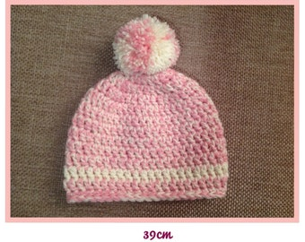 Crochet baby beanie with pompom - 6-9m