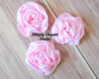"2 Pink Rolled Satin Flower, 3"" Fabric Flowers, Headband Flowers, DIY Craft Supply"