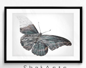 Butterfly Print, Double Exposure, Digital Photo Effect, Double Exposure Art, Butterfly Photo, Double Exposure Print, Butterfly Effect