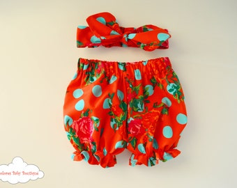 Red Bloomers Set~ Girl Bloomer~ Girl Headband~ Flower Bloomer~ polka dot bloomer~ cotton baby outfit~ knot headband~ newborn set~ flower set