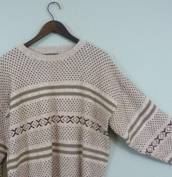 Neutral Geometric Print Cotton Spring Sweater / 1980s Textured Knit / Modern size XXL+ / Boxy Cut / Oversized Plus Size