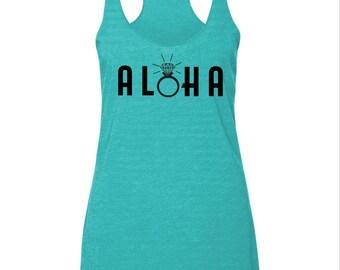 Aloha Women's Racerback Honeymoon Tank, Beach Tank, Hawaii Honeymoon Just Married Womens Tank Top, Wedding Engagement