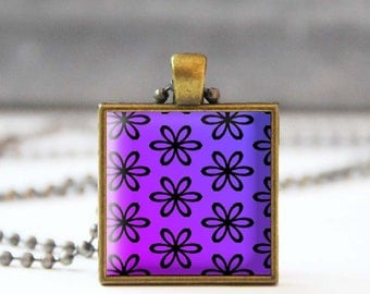 Purple necklace, Flower Photo charm necklace, Square Glass dome jewelry, Gift for her, 5054-3