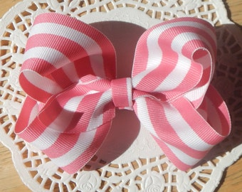 Pink Stripe Boutique Bow, Boutique Bow, Pink Boutique Bow, Girls Bow, Baby Bow, Bow, Hair Accessories