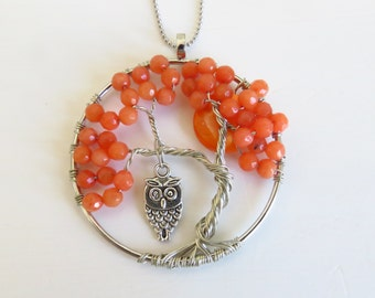 Tree of Life Pendant, hanging owl,Red, Halloween gift, gift for her, best gift, Birthday gift, Christmas gift.