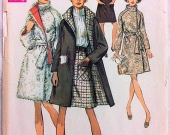 1960s reversible coat and A-line skirt Simplicity 8503 vintage sewing pattern Bust 32.5 Waist 24 Hip 34.5 Retro 60s Mad Men preppy style