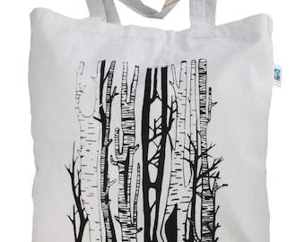"Jute bag ""Birch Grove"" fair trade printing, black and natural"