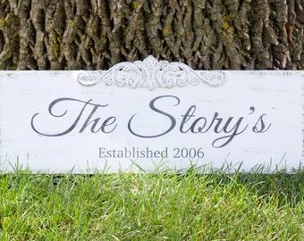 Rustic Last Name Sign, Established Sign, Wedding Sign