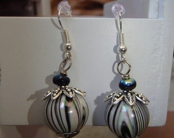 a black and white stripped dangle earrings made in USA