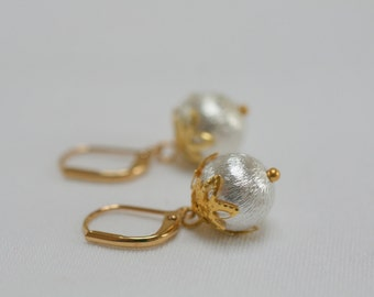 Gold & Silver Round Drop Earrings, Silver Ball Earrings, Brushed Silver Earrings, Gold Leaf Earrings