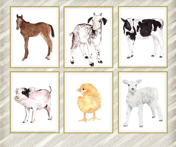 Farm Animal Prints Nursery Print Kids Room By Lolaprintable