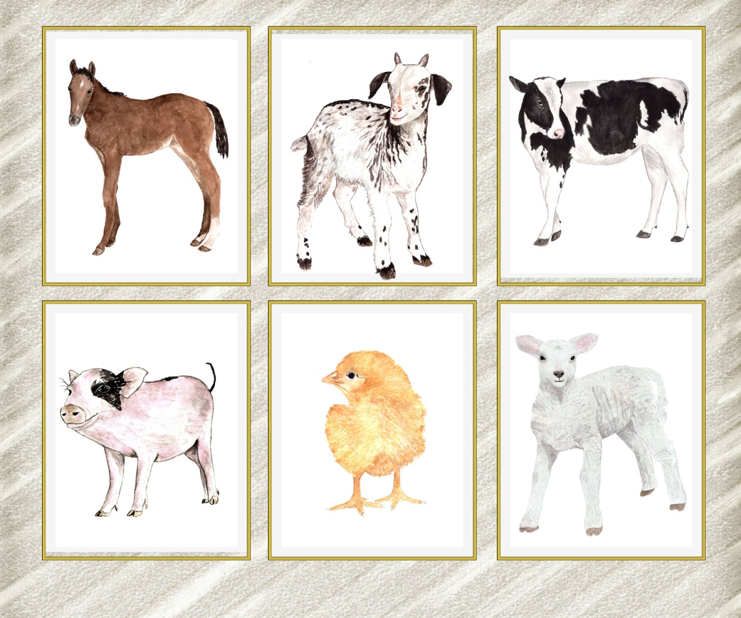 Farm Animal Prints: NURSERY PRINT Kids Room By LolaPrintable