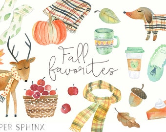Watercolor Fall Clipart | Autumn Graphics - Dog, Scarf Deer Clipart - Autumn Leaves - Pumpkin Clipart - Instant Download PNG files