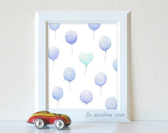 Baby boy room decor, Balloon nursery art,  play room print,  kids room art, boy nursery printable, Blue balloons art #0030B