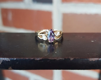 10k Yellow Gold Marquise Amethyst and Diamonds Ring