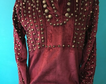 Vintage Navajo blouse, heavily embellished, 600+ hand made sterling buttons,1940s, fantastic condition. Mid century. Rare!