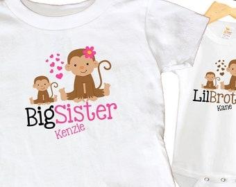 Monkey Shirt SET Big Sister Little Brother Sibling Personalized Shirts bodysuit SET