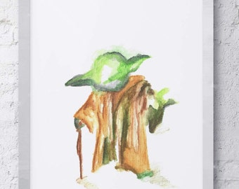 Star Wars Yoda Watercolor Print