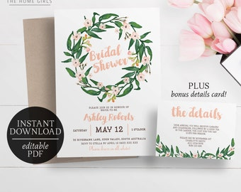 Printable Floral Bridal Shower Invitation | Editable Template | Watercolour Flowers | Watercolor | Pink | Greenery | Wreath | Blush Invite