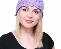 Womens lace summer hat, Women's crochet cotton beanie, Girls purple hat, Crochet violet beanie, Lace summer lilac hat, Lace handknit beanie