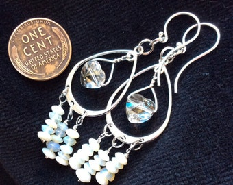 Swarvoski Heart & Precious Opal Argentium Sterling Silver Earrings