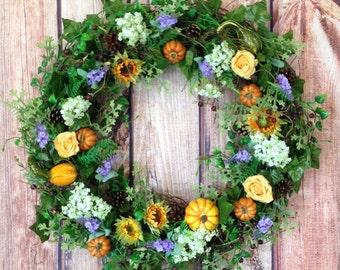 sunflower wreath, fallwreath, autumn wreath, all season wreath, fall wreath, summer wreath, floral wreath, large wreath, wreath