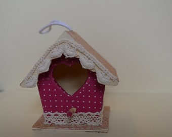 Small birdhouse decoration, wooden birdhouse, hanging decoration