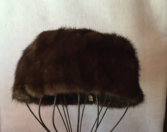 60's Mink Pillbox Hat