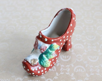 Vintage Hand Painted Miniature Porcelain Shoe Made in Japan