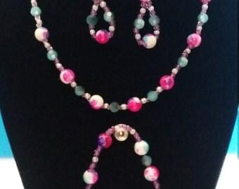 Pink, Blue & Purple Necklace Jewelry Set