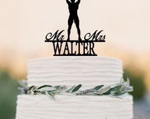 Weight lifting Bride silhouette with Mr&Mrs Last name wedding cake topper decoration gift Funny