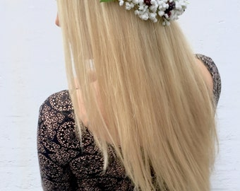 Blackberry Fruits Of The Forest Gypsophila Baby's Breath Flower Crown Halo Hair Head Band Piece