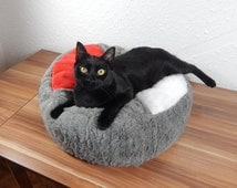 Cat bed bean bag fluffy fur pet pad, colorful red white and gray cat royal bed, soft filled with bean bag filling and non slip material