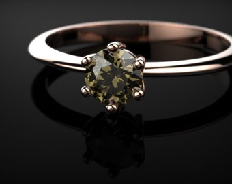 Smoky Quartz Engagement Ring Rose Gold Ring Brown Gemstone Smoky Quartz Engagement Ring Brown Gemstone Engagement Ring Smokey Topaz Ring
