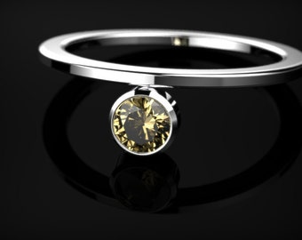 White Gold Citrine Ring Citrine Engagement Ring Orange Gemstone Engagement Ring White Gold Citrine Ring November Birthstone