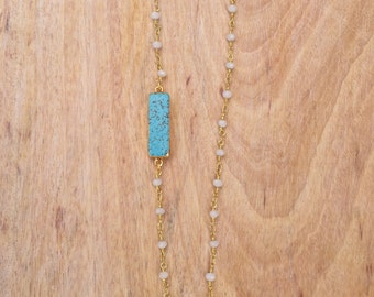 Turquoise Bar Beaded Necklace