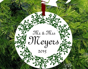 Forest Green Berry Personalized Mr & Mrs Christmas Ornament - Item# ORCR224 - lovebirdschristmas