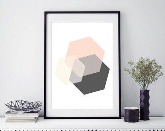 Pink Hexagon Print Geometric Decor Geometric Hexagon Minimalist Room Decorations Scandinavian Design Office Desk Accessories Abstract Print