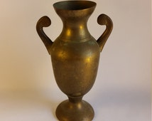 SALE Vintage, Rustic, Old World, Solid Brass Urn Vase Made in India, Home Decor ReasonsBecause