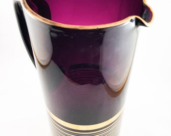 Vintage Mid Century Purple Amethyst Glass Martini Pitcher