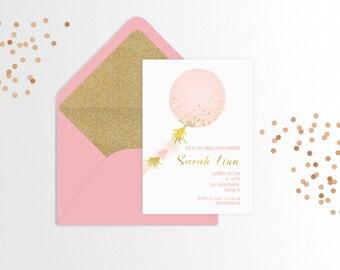 Confetti Balloon Bridal Shower Invitation - Set of 25 or Digital
