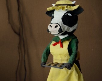 Mrs Cow figurine animal head human body papier mache remodeled wine bottle recycled shelf decoration art decor restructure