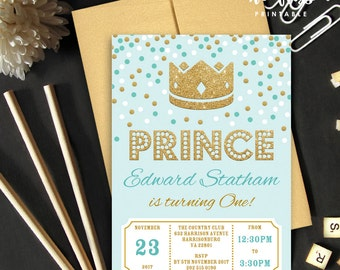 Prince Crown Invitation | 5x7 | Editable PDF File | Instant Download | Personalize at home with Adobe Reader