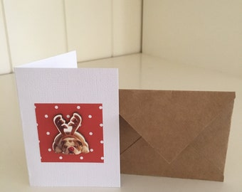 Small Bulldog Dog Christmas Gift Card Tag with Envelope Red Spots Reindeer Rudolph Cute Handmade