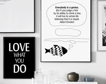 Everybody Is A Genius, Inspirational Quote Print, Black And White Wall Art, Albert Einstein Quote, Printable Quotes, Motivational Poster