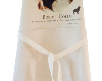 Border collie new Dog Natural Cotton Apron Double Pockets UK Made Baker Cook